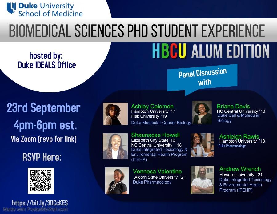 Flyer for HBCU recruitment event on September 23, 2021, featuring a penal of HBCU alumni