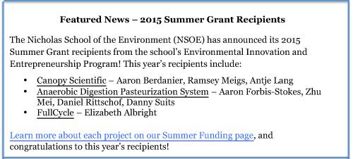 2015 Summer Funding