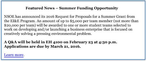 2016 Summer Funding