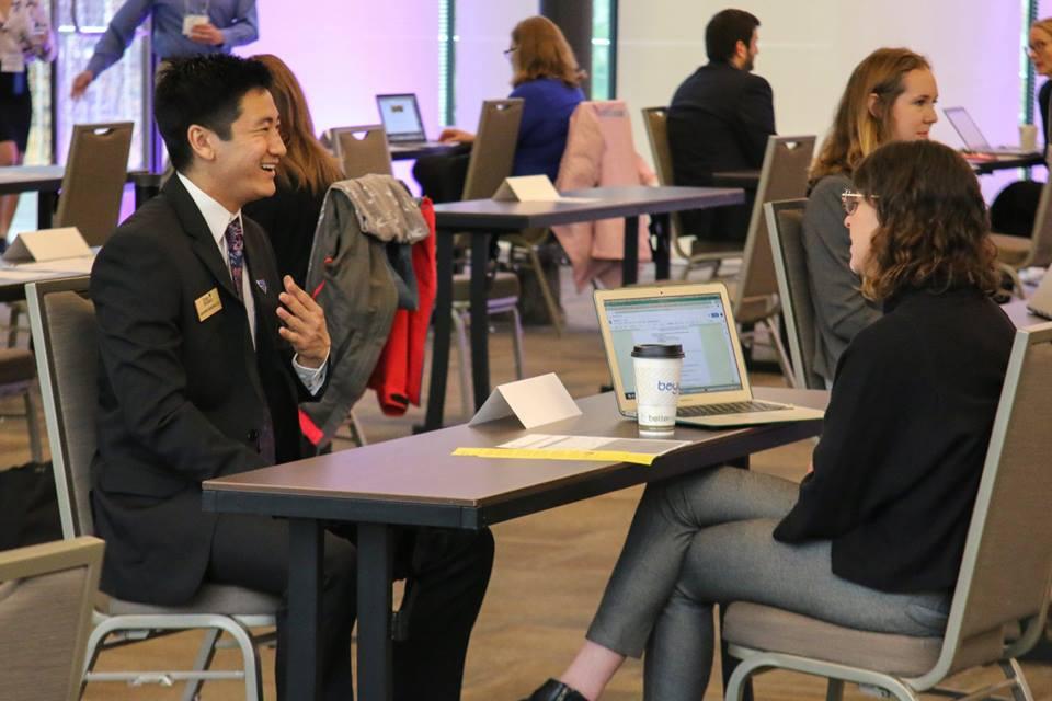 A student interviews for an internship