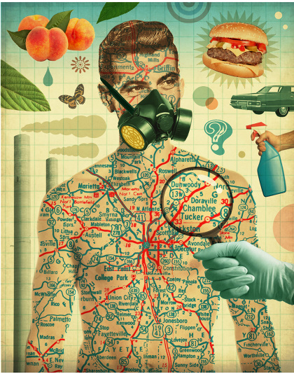 The exposome and how the environment shapes our health, illustration by Michael Waraksa for Atlanta Magazine
